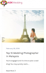 Malaysia top 15 wedding photographer